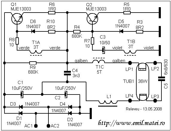 балласт 36w схема