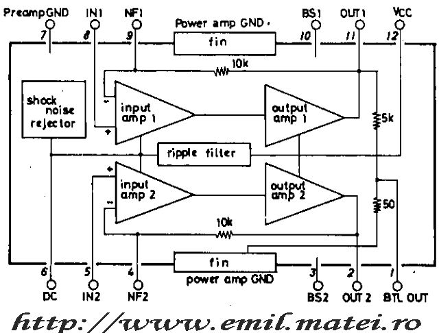 Internal schematic of LA4192 (Schema-bloc interna LA4192
