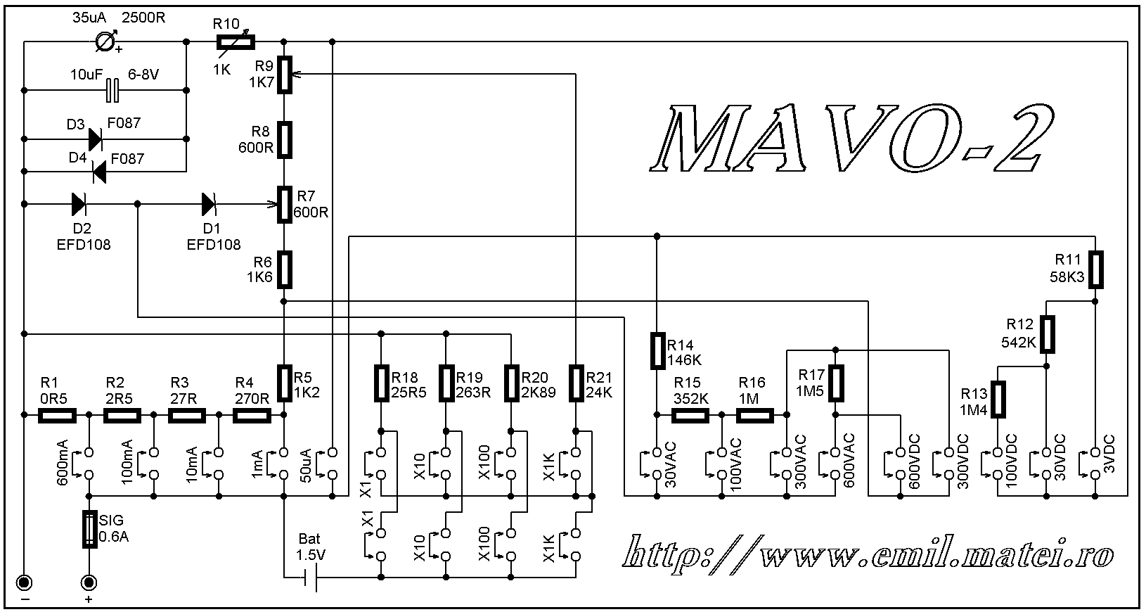 Multimetrul MAVO-2 - Schema electrica