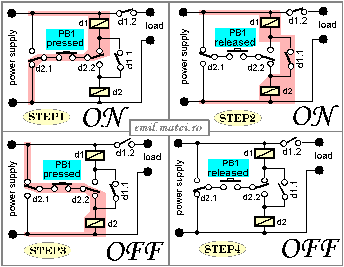 emil matei on off switch using 2 relays four versions rh emil matei ro on off relay circuit diagram Relay Diagram Symbols