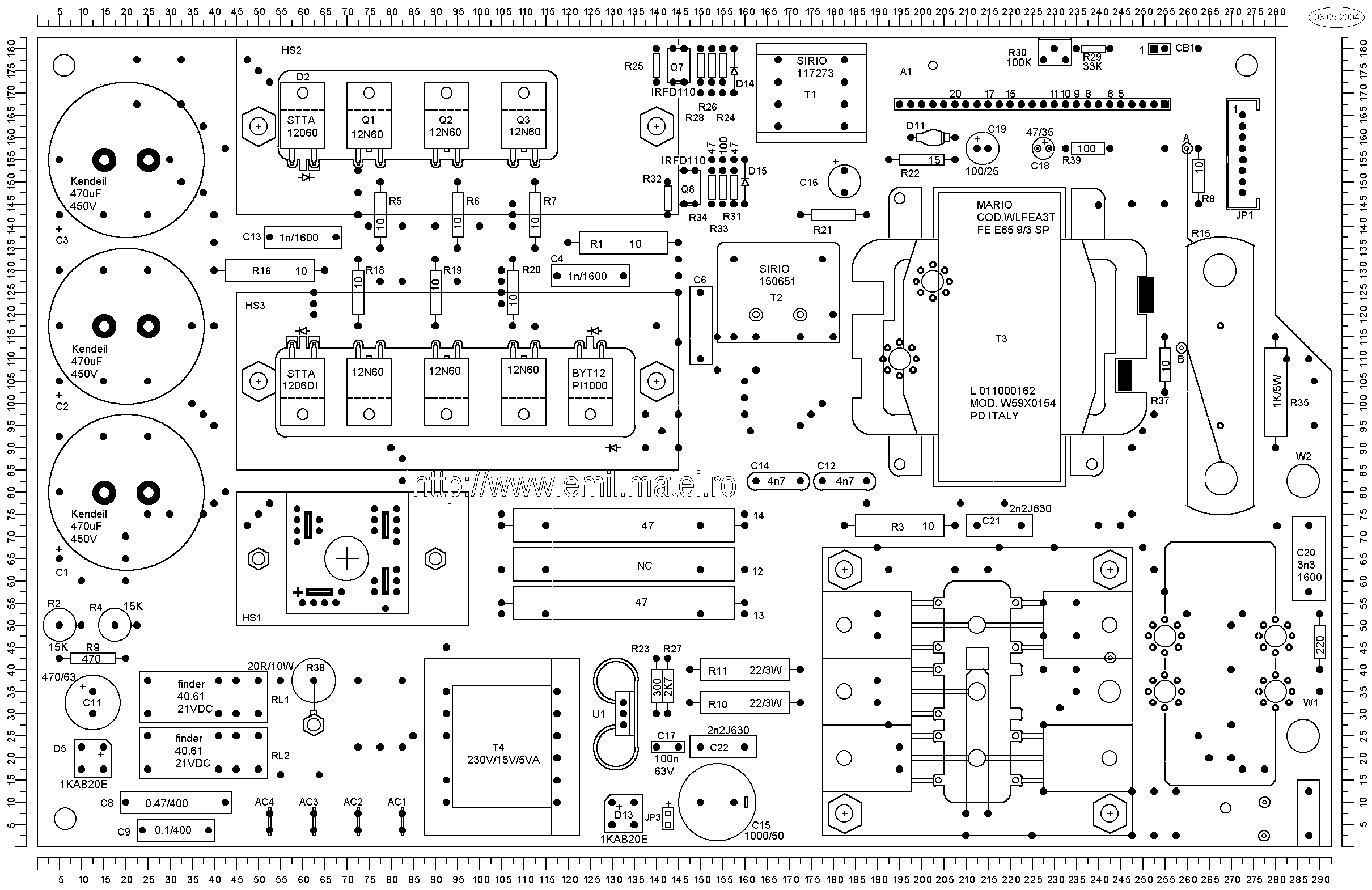 LINCOLN INVERTEC V140-S - PCB Layout