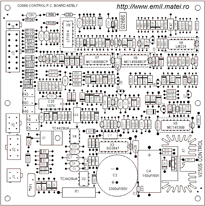 PCB Control G2666 - Lincoln Invertec V250S - Layout