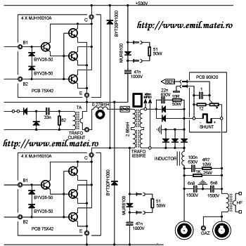 Schema invertor de sudare - etaj de putere cu tranzistoare bipolare